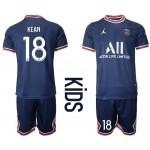 21-22 Youth Paris Saint-Germain F.C #18 Moise Kean Navy Home Soccer Jersey