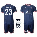 21-22 Youth Paris Saint-Germain F.C #23 Julian Draxler Navy Home Soccer Jersey