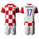 2020 European Cup Croatia Mandzukic #17 white Jersey