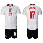 2020 European Cup England #17 Jadon Sancho White Home Jersey