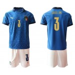 2020 European Cup Italy Chiellini #3 Blue Jersey