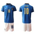 2020 European Cup Italy Insigne #10 Blue Jersey