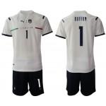 2020-21 European Cup Italy Buffon #1 White Away Jersey