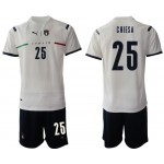 2020-21 European Cup Italy Chiesa #25 White Away Jersey