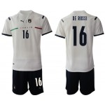 2020-21 European Cup Italy De Rossi #16 White Away Jersey