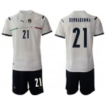 2020-21 European Cup Italy Donnarumma #21 White Away Jersey