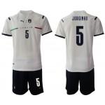 2020-21 European Cup Italy Jorginho #5 White Away Jersey