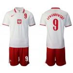 20-21 European Cup Poland Lewandowski #9 White Home Jersey