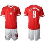 20-21 European Cup Poland Lewandowski #9 Red Away Jersey