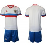 2020 European Cup Russia Blank White Away Jersey