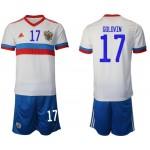 2020 European Cup Russia Golovin #17 White Away Jersey