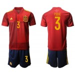 2020 European Cup Spain Pique #3 Red Jersey