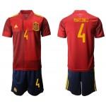 2020 European Cup Spain Martinez #4 Red Jersey