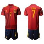 2020 European Cup Spain Morata #7 Red Jersey