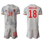 2020-21 European Cup Spain Jordi Alba #13 Gray Away Jersey