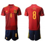 2020 European Cup Spain Koke #8 Red Home Jersey