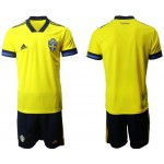 2020 European Cup Sweden Blank Yellow Home jersey
