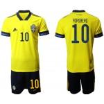 2020 European Cup Sweden #10 Emil Forsberg Yellow Home jersey