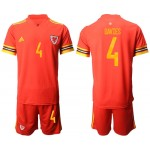 2020 European Cup Wales Davies #4 Red Jersey