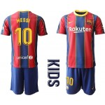 20-21 Youth Barcelona #10 Lionel Messi Red Home Soccer jersey