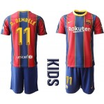 20-21 Youth Barcelona #11 O.Dembele Red Home Soccer jersey