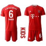 20-21 Youth FC Bayern Munchen #6 Thiago Red Home Soccer Jersey