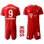 20-21 Youth FC Bayern Munchen #9 Robert Lewandowski Red Home Soccer Jersey