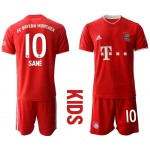 20-21 Youth FC Bayern Munchen #10 Leroy Sane Red Home Soccer Jersey