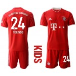 20-21 Youth FC Bayern Munchen #24 Corentin Tolisso Red Home Soccer Jersey