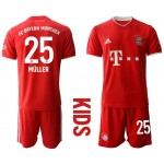 20-21 Youth FC Bayern Munchen #25 Thomas Muller Red Home Soccer Jersey