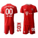 20-21 Youth FC Bayern Munchen Any Name Red Home Customized Soccer Jersey