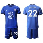 20-21 Chelsea #22 Christian Pulisic Blue Home Soccer Jersey