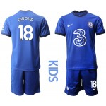 20-21 Youth Chelsea #18 Olivier Giroud Blue Home Soccer Jersey