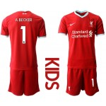 20-21 Youth Liverpool #1 A.Becker Red Home Soccer Jersey