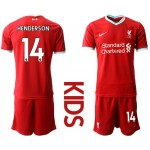 20-21 Youth Liverpool #14 Jordan Henderson Red Home Soccer Jersey