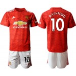 20-21 Manchester United #10 Marcus Rashford Red Home Soccer Jersey