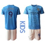 20-21 Youth Manchester City #9 Gabriel Jesus Blue Home Soccer Jersey