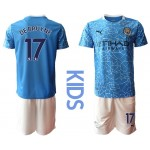 20-21 Youth Manchester City #17 Kevin De Bruyne Blue Home Soccer Jersey