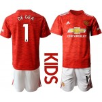20-21 Youth Manchester United #1 David de Gea Red Home Soccer Jersey