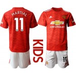 20-21 Youth Manchester United #11 Martial Red Home Soccer Jersey