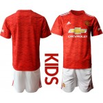 20-21 Youth Manchester United Blank Red Home Soccer Jersey