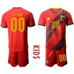 2020 European Cup Belgium home nay name Red Kids jersey