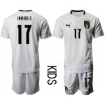 2020 European Cup Italy De Immobile #17 White Kids Jersey