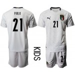 2020 European Cup Italy Pirlo #21 White Kids Jersey