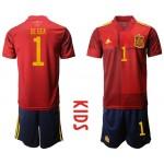 2020 European Cup Spain De Gea #1 Red Kids Jersey