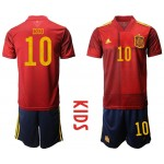 2020 European Cup Spain Isco #10 Red Kids Jersey