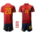 2020 European Cup Spain Asensio #20 Red Kids Jersey