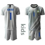 20-21 Brazil A.Becker #1 Gray  Kids Jersey