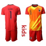 20-21 France Lloris #1 Red Kids Jersey