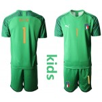 20-21 Italy Buffon #1 Green Kids Jersey